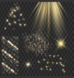 golden shine stars with glitters sparkles icons vector image