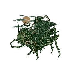 grim reaper riding grasshopper vector image