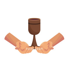 Hands holding chalice vector