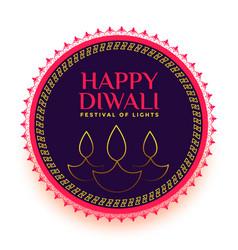 Happy diwali line diya festival card design vector