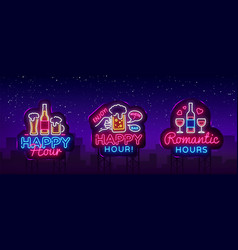 Happy hour neon sign collection happy hour vector