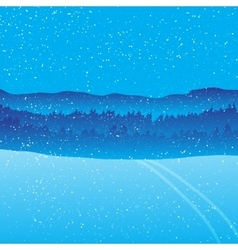 Holiday winter landscape background with forest vector image