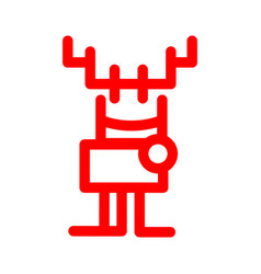 Icon in marker style cartoon deer red christmas vector