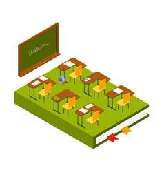 isometric classroom school room with vector image