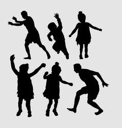Kids jumping sihouette vector