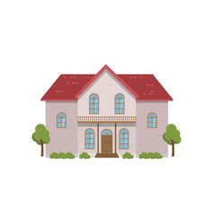 Light two-story house with balcony above porch vector