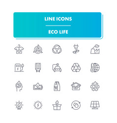 line icons set eco life vector image