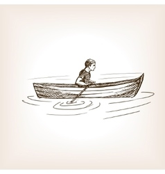 Man in boat sketch style vector image