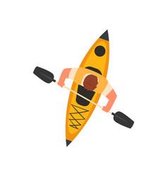 Man paddling kayak in sea or river kayaking water vector