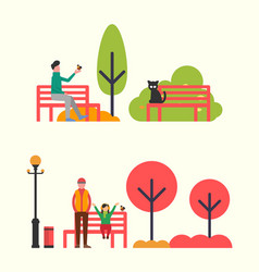 man sitting on bench and holding bird in hands vector image