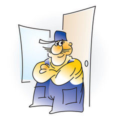 man the builder cartoon vector image