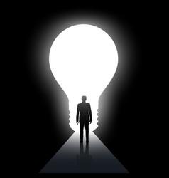 man walks along the dark corridor vector image