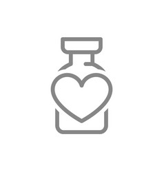 Medical ampoule with heart line icon vaccine vector