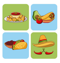 mexican food set icons menu ingredients spicy vector image