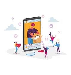 Modern influencer or fashion blogger recording vector