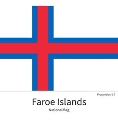national flag faroe islands with correct vector image