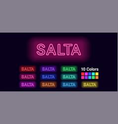 Neon name of salta city vector