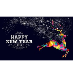 New year 2015 reindeer poster design vector image