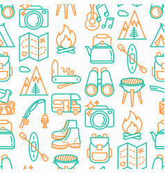 Outdoor seamless pattern with thin line icons vector