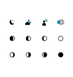 phases moon duotone icons on white vector image