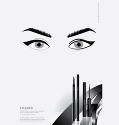 poster cosmetic eyeliner with packaging vector image
