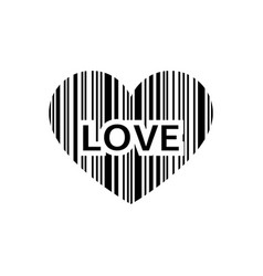 print love with a barcode in the form of a heart vector image