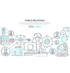 public relations - modern colorful line design vector image