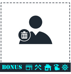 remove contact icon flat vector image
