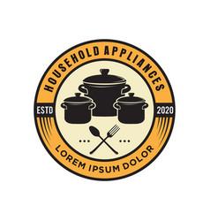 Restaurant logo with kitchen elements vector
