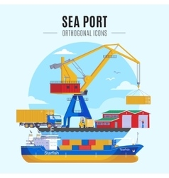 Sea Port Template vector