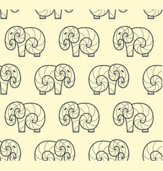Seamless pattern of one line art elephant vector