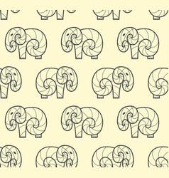 Seamless pattern of one line art elephant vector