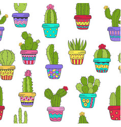 Seamless pattern with cactus in color vector