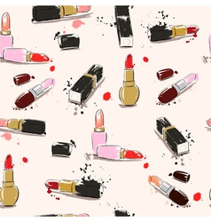 seamless pattern with lipstick vector image