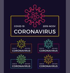 Set coronavirus pandemic badge health and vector