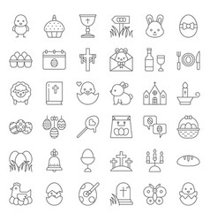 Set easter spring and egg hunt icon thin line vector