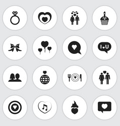 Set of 16 editable heart icons includes symbols vector