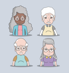 Set of old people couple concept vector