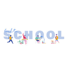 set pupils school children students vector image