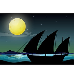 Silhouette sailboat at sea vector image