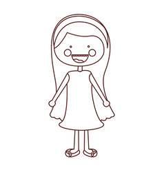 Sketch contour smile expression cartoon long hair vector