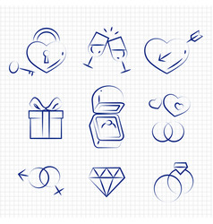 Sketch style wedding line icons on notebook page vector