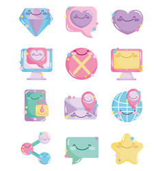 social networks cartoon comic icons collection vector image