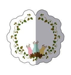 Sticker colorful ornament creepers with flowerbud vector