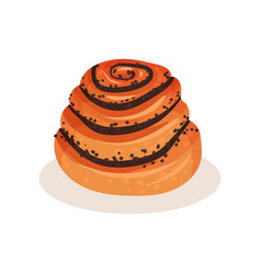 sweet bun with poppy seeds bakery pastry product vector image