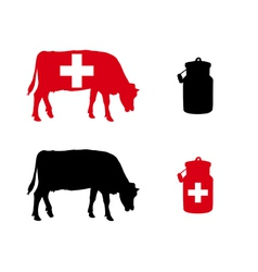 Swiss milk cow vector image