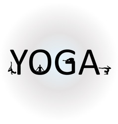 text yoga with different yoga poses vector image