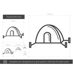 Tourist tent line icon vector