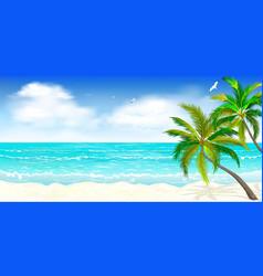tropical beach palm trees 1 vector image
