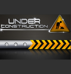 Under construction with road sign vector
